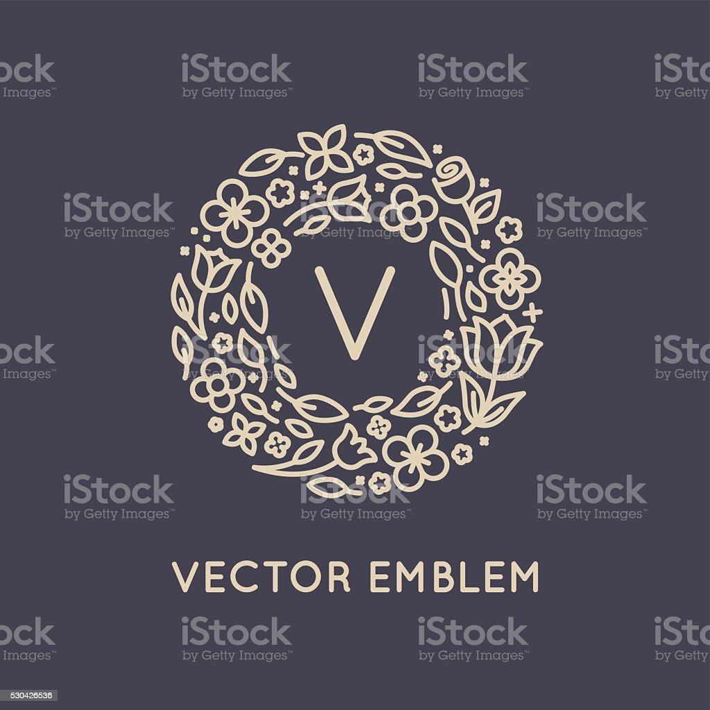 Vector logo design template in trendy linear style with flowers vector art illustration