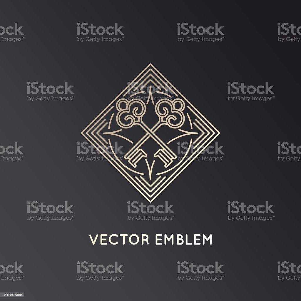 Vector logo design template in trendy linear style with keys vector art illustration