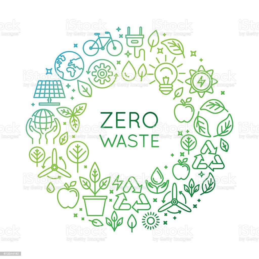 Vector logo design template - zero waste concept vector art illustration