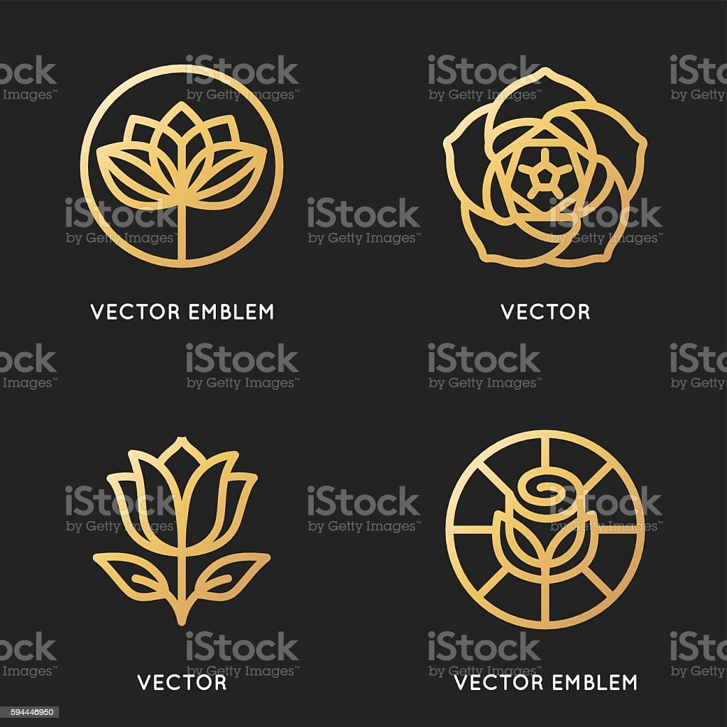Vector logo design templates and signs in trendy linear style vector art illustration
