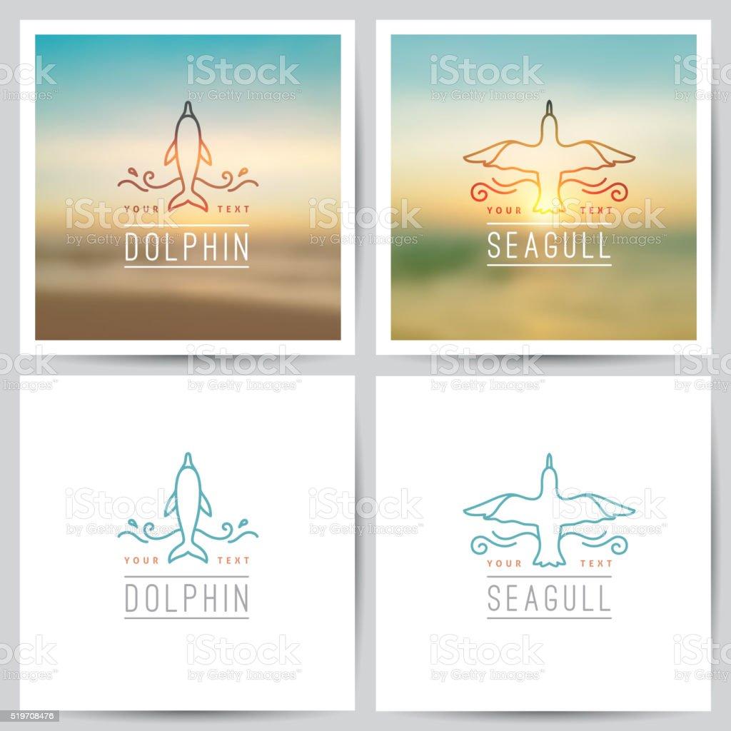vector logo, dolphin and seagull vector art illustration