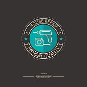 Vector logo for house repair with blue circle