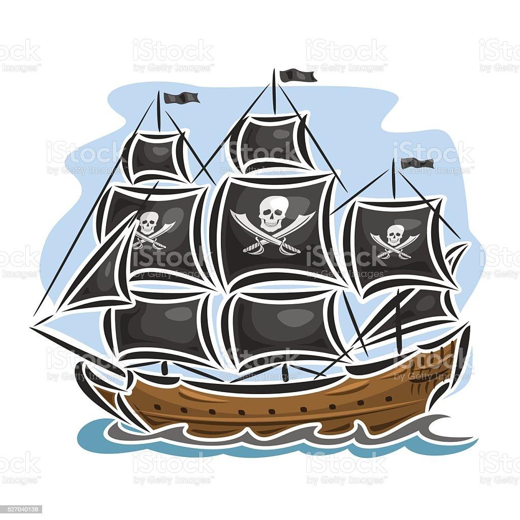 Vector logo pirate cartoon sailing ship vector art illustration