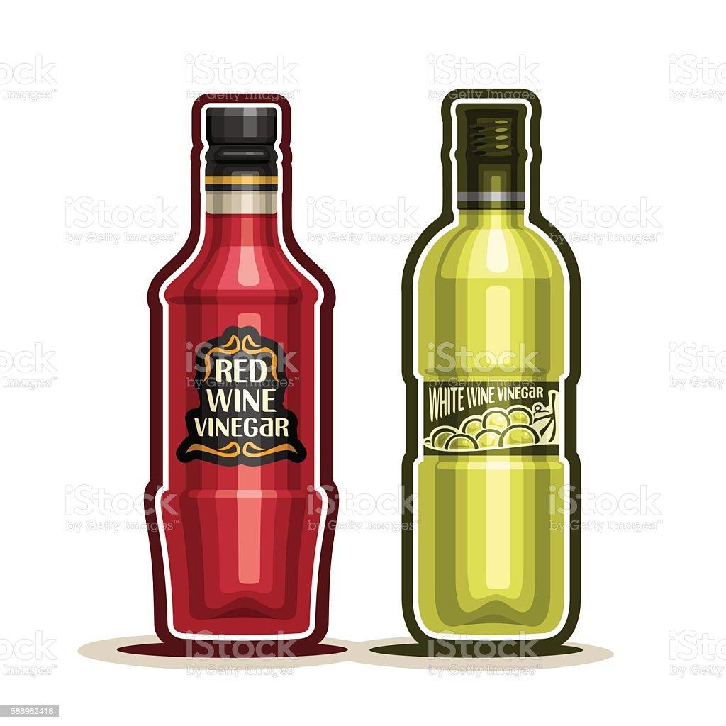 Vector logo Red and White Wine Vinegar Bottles vector art illustration