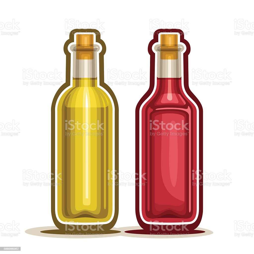Vector logo Red and Yellow Wine Bottles vector art illustration