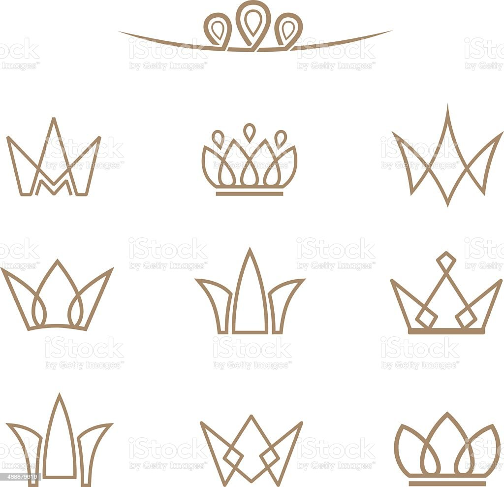 Vector logo set. Crowns in a line style. vector art illustration