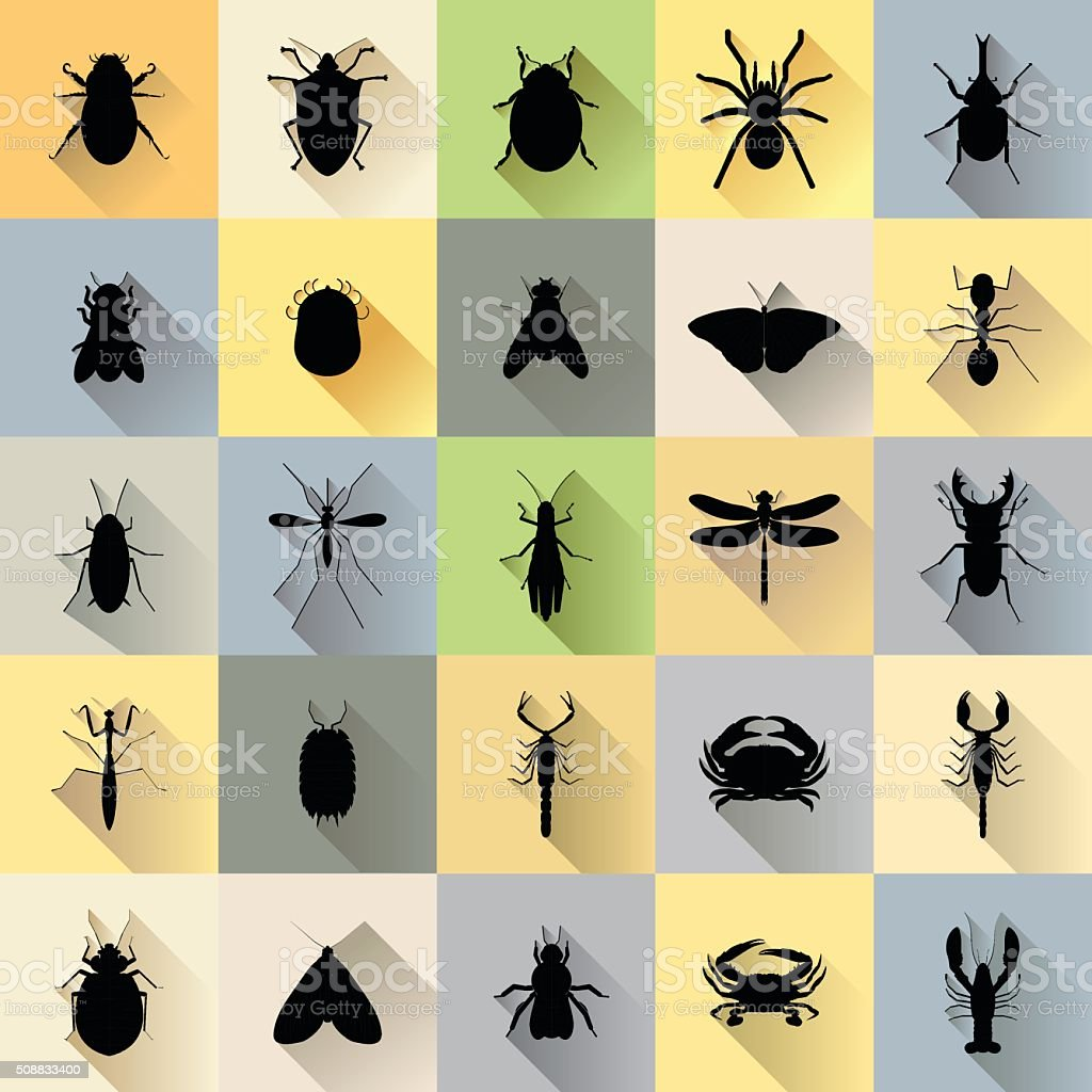 Vector Long Shadow 25 Silhouette Bug Insect Set vector art illustration