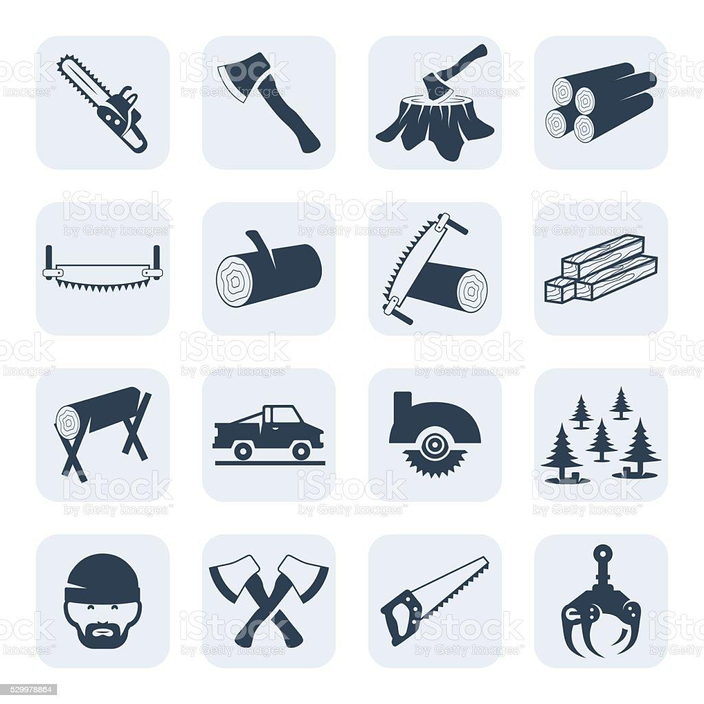 Vector lumberjack and sawmill icons set.Vector symbols. Vector illustration vector art illustration