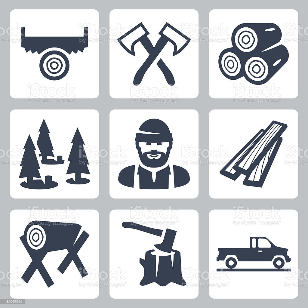 Vector lumberjack icons set vector art illustration