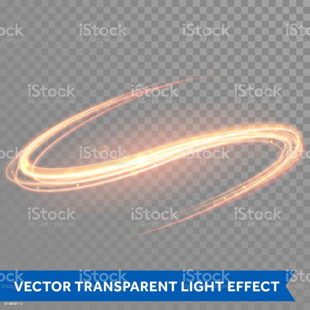 Vector magic glowing light swirl trail. Glitter fire spark wave. vector art illustration