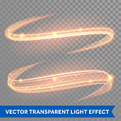 Vector magic glowing light swirl trail. Glitter fire spark wave.