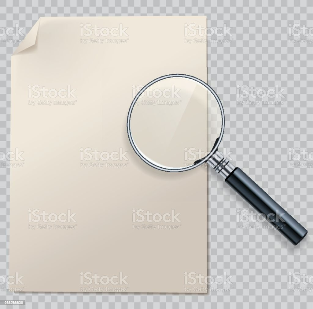 Vector magnifying glass with transparent glass surface on paper page vector art illustration