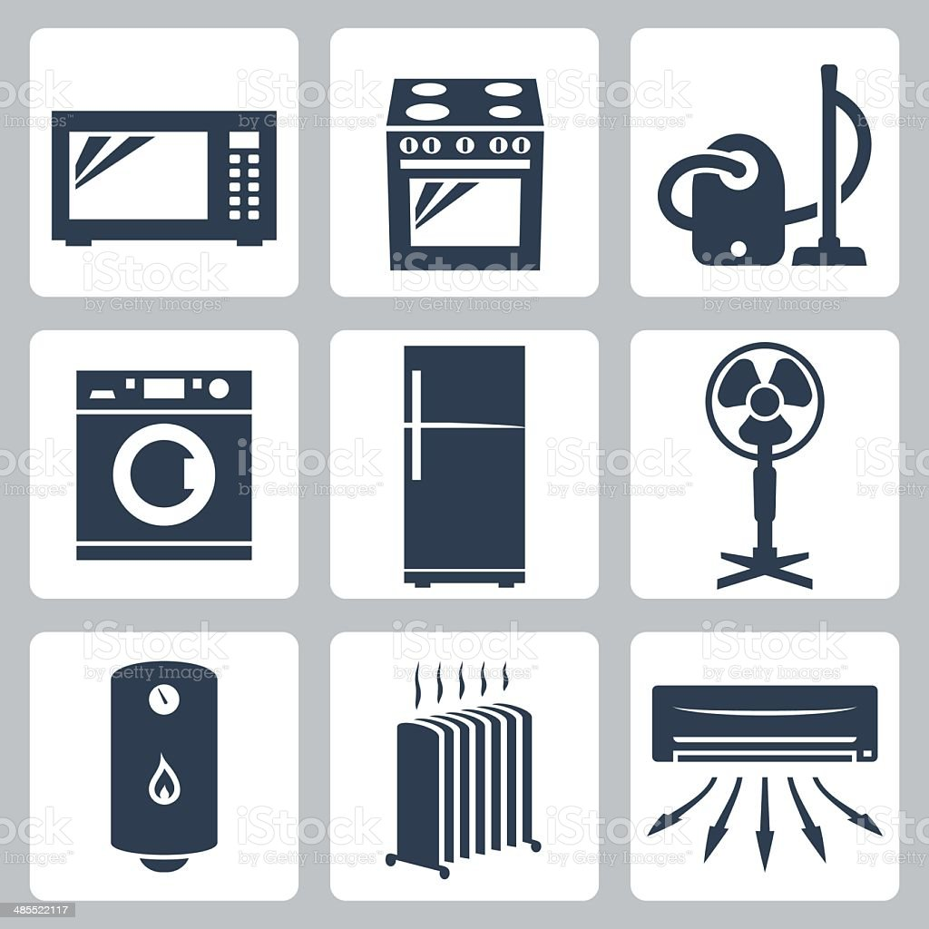 Vector major appliances icons set vector art illustration