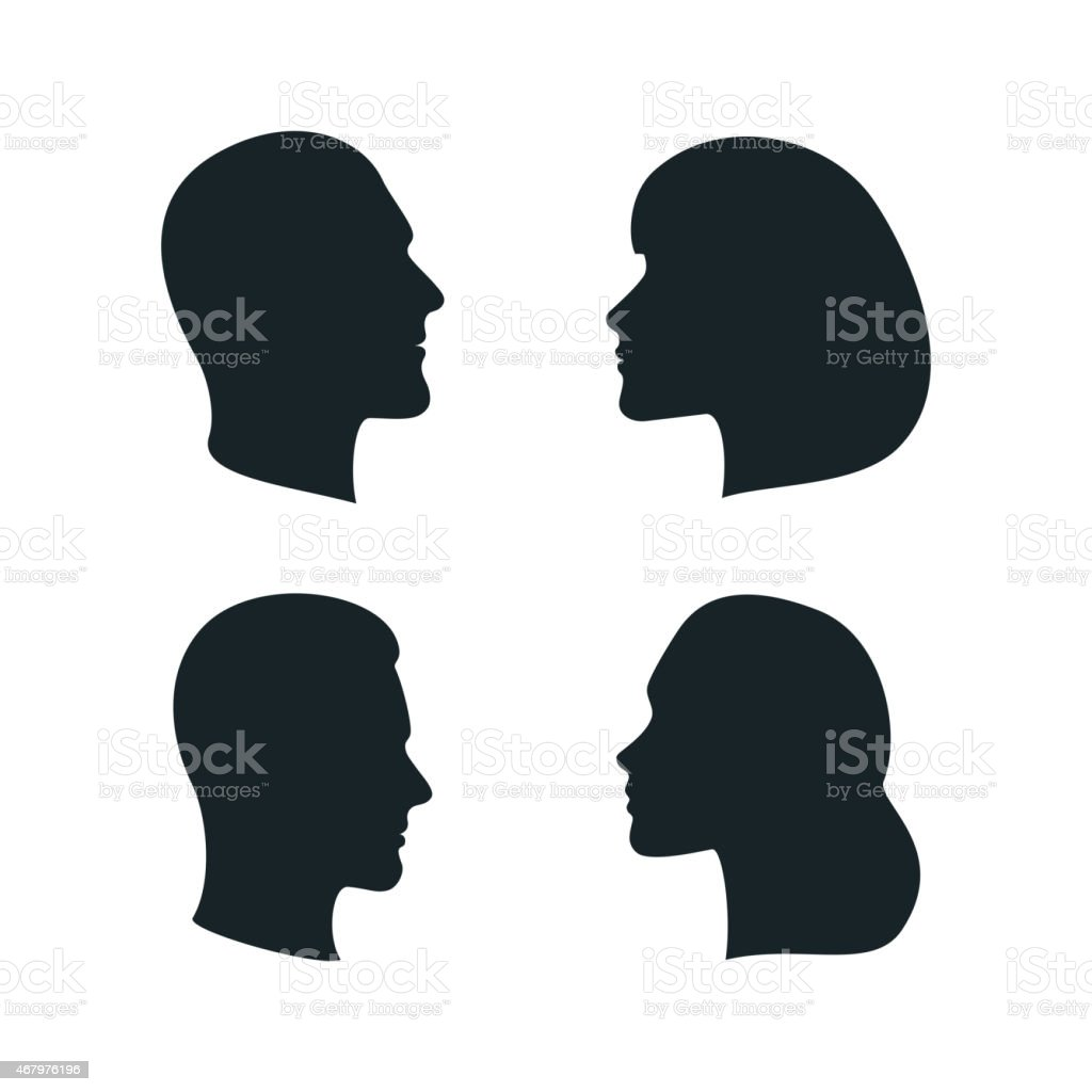 Vector Male and Female Profile Silhouettes vector art illustration