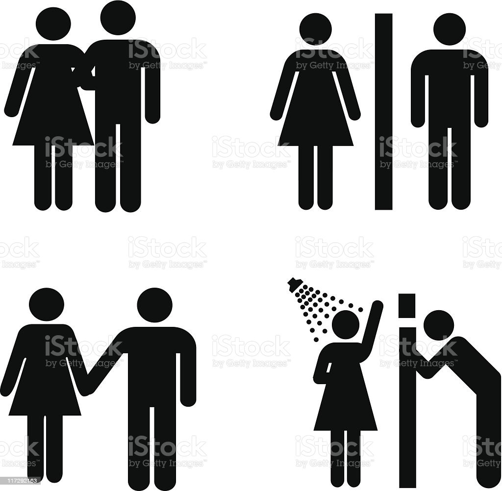 vector male and female signs vector art illustration