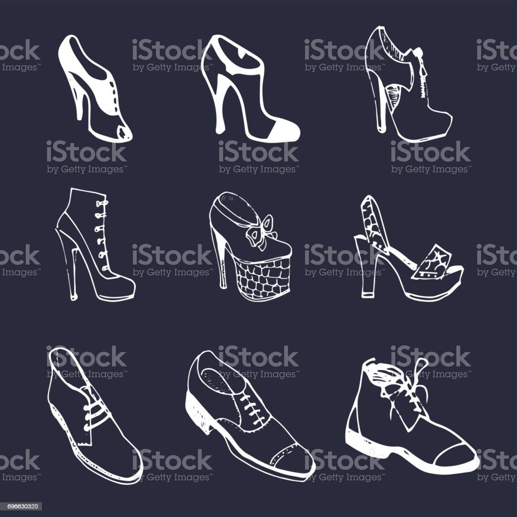 Vector man and woman shoes set. Footwear collection in sketch style. vector art illustration