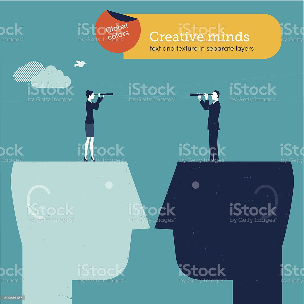 Vector man and woman with spyglass on brain vector art illustration