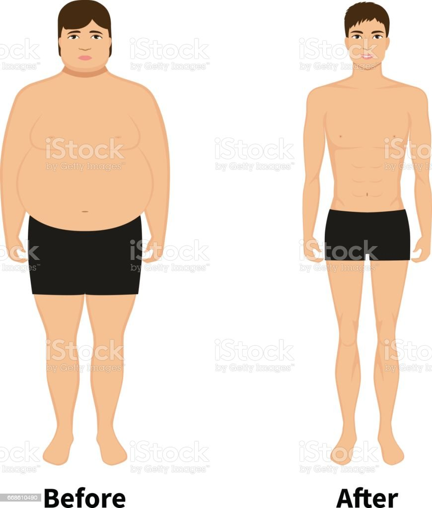 Vector man before and after weight loss vector art illustration