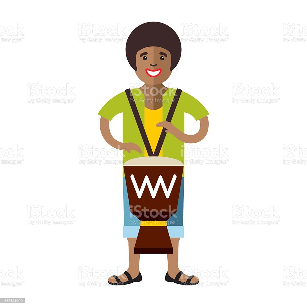Vector Man playing Djembe. African music. Flat style colorful Cartoon vector art illustration