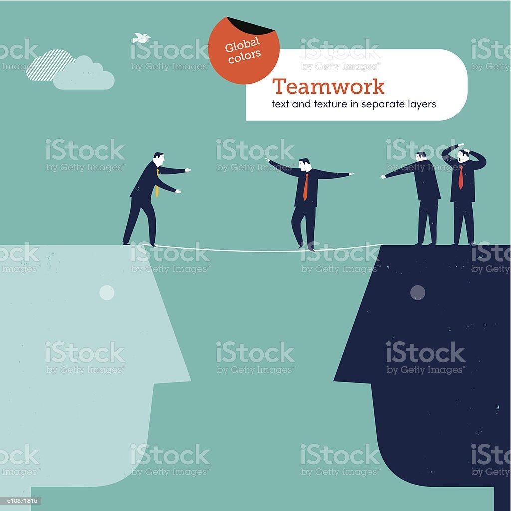Vector man walking a tightrope vector art illustration