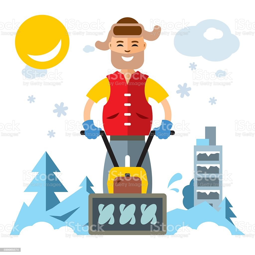 Vector Man with a Snow Blower. Flat style colorful Cartoon vector art illustration