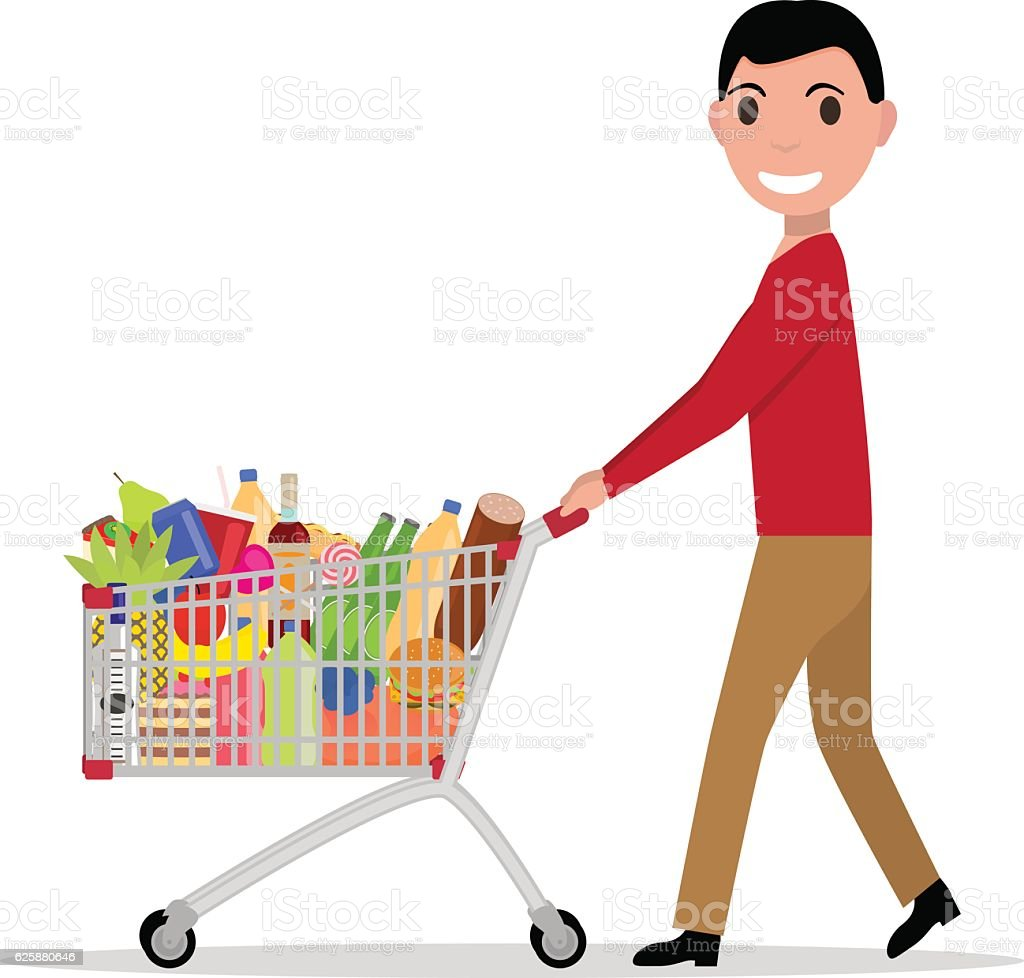 Vector man with shopping trolley full groceries vector art illustration
