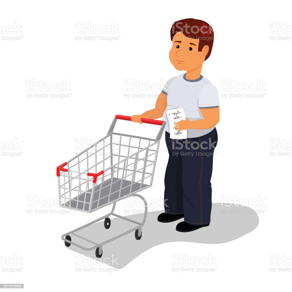 Vector man with wish shop list and empty shopping cart vector art illustration