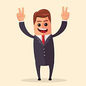 Vector manager or business character happy and with open arms