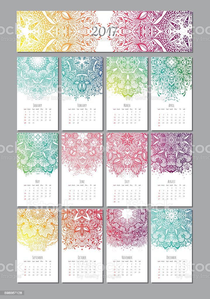 vector mandala calendar 2017 vector art illustration