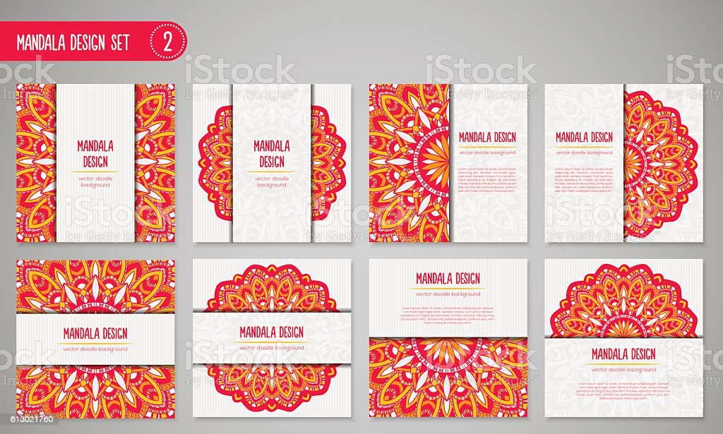 Vector mandala decor set for your design with abstract ornament. vector art illustration