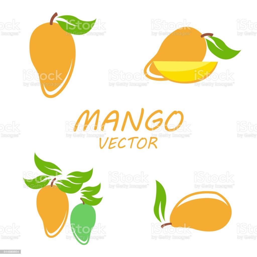 Vector Mango icons set vector art illustration
