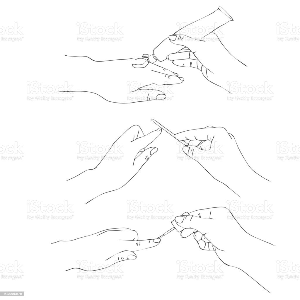 vector manicure process vector art illustration
