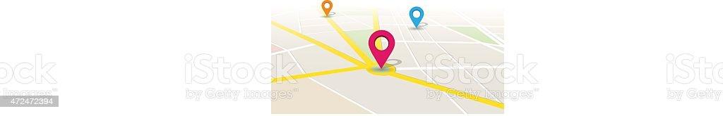 Vector Map Location App vector art illustration