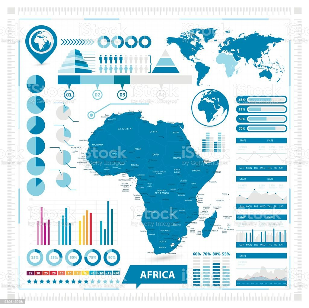 Vector map of Africa and infographic elements vector art illustration