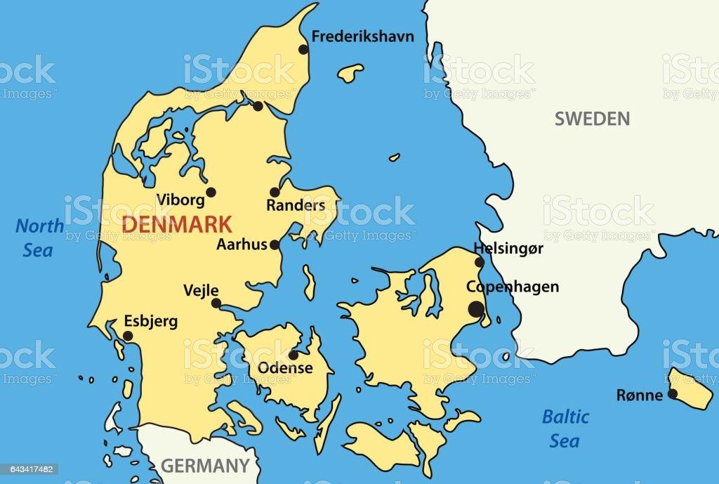 Vector Map Of Denmark stock vector art 643417482 – Germany Denmark Map