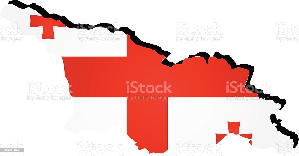 Vector map of Georgia with the image of the national flag vector art illustration
