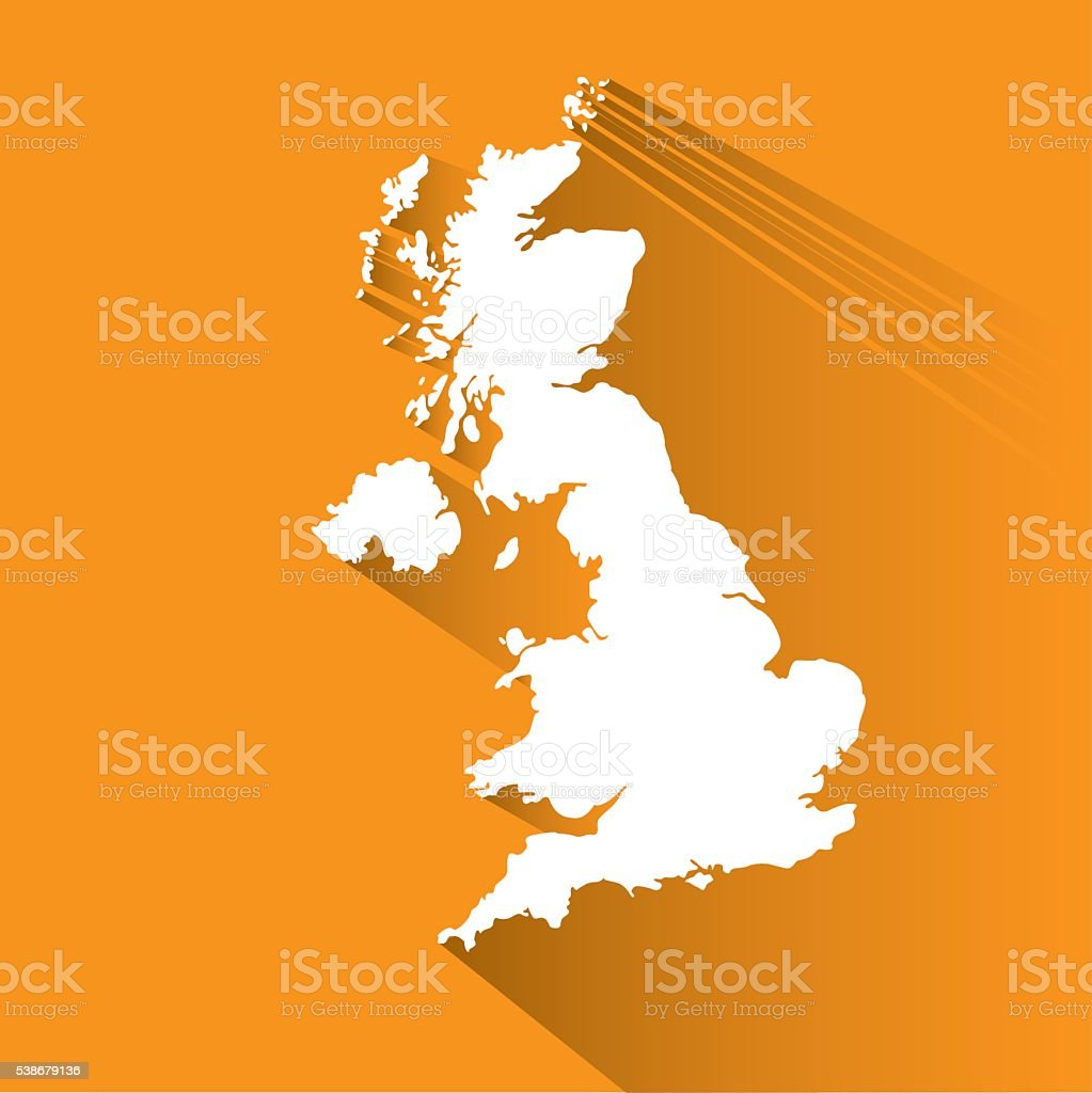 Vector map of Great Britain on white isolated - Illustration vector art illustration