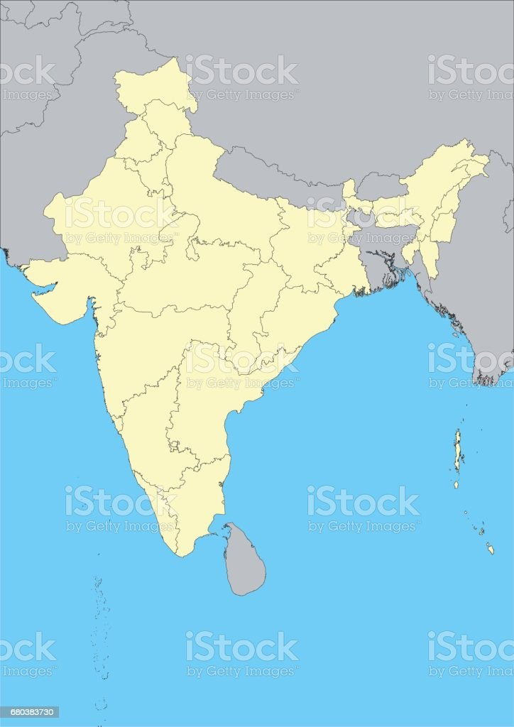 Vector map of India vector art illustration