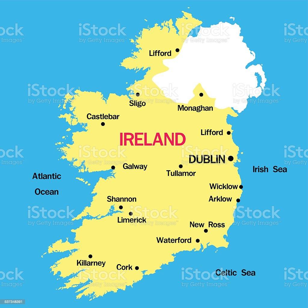 vector map of  Ireland vector art illustration