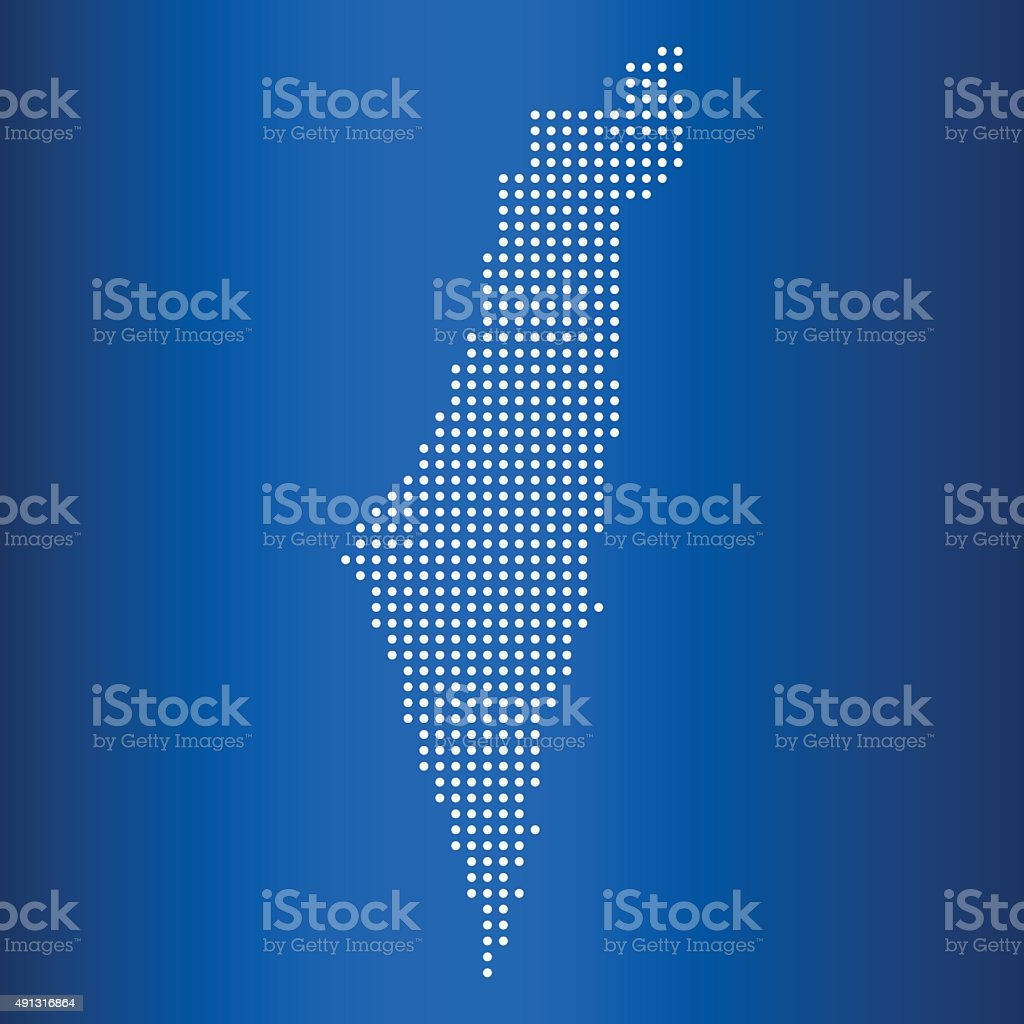 vector map of Israel with circle dot vector art illustration