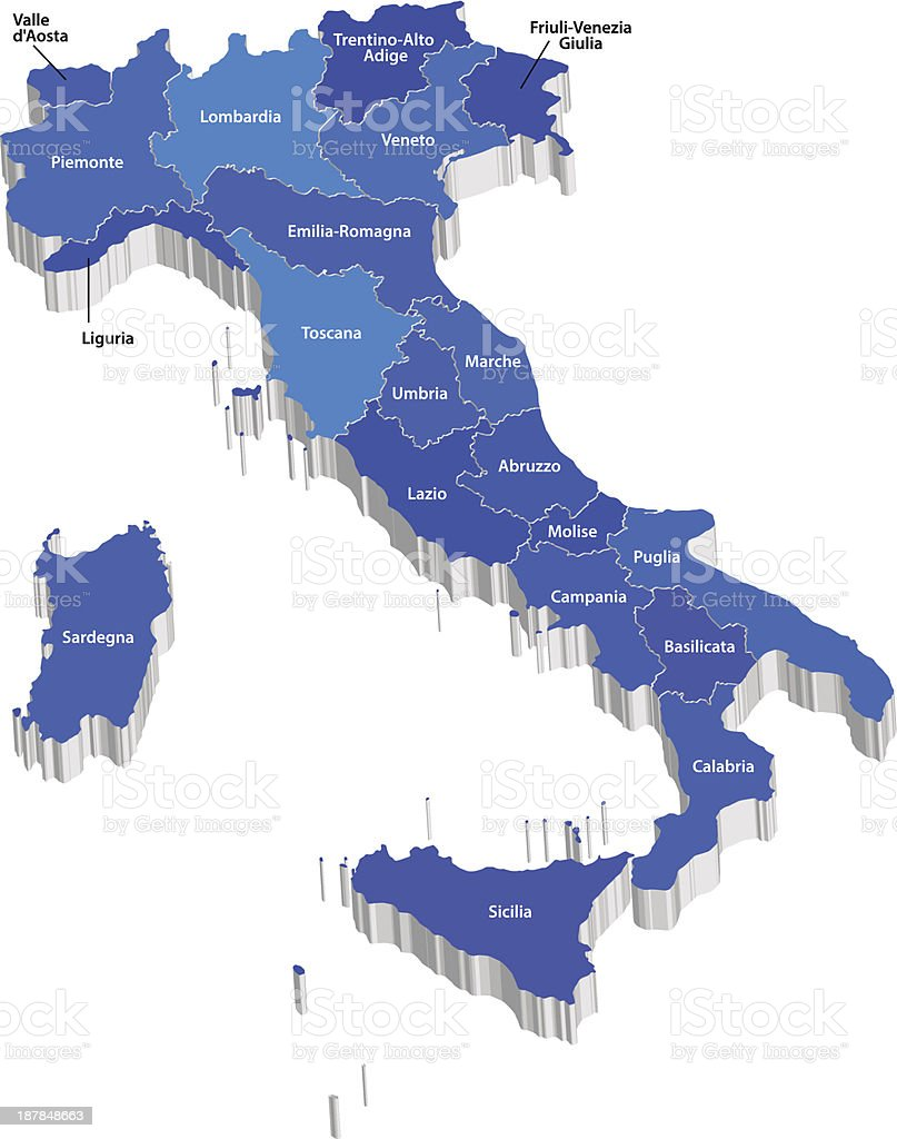 Vector map of Italy vector art illustration
