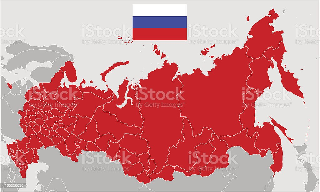 Vector Map of Russia and  Flag vector art illustration