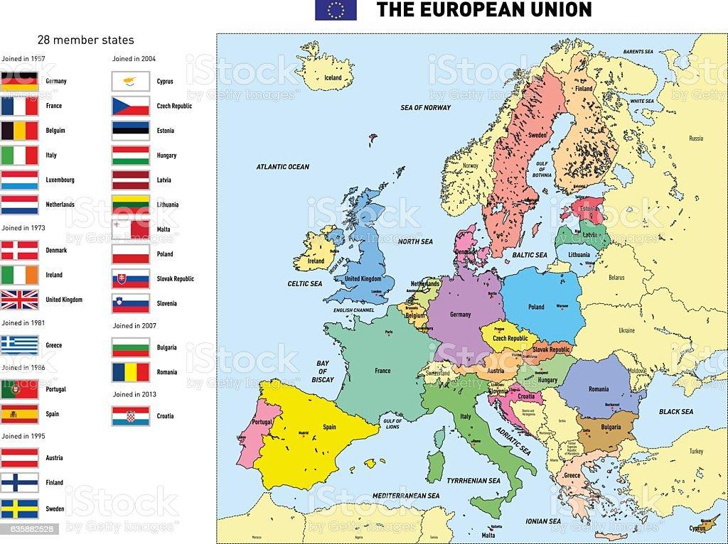 Vector map of The European Union vector art illustration