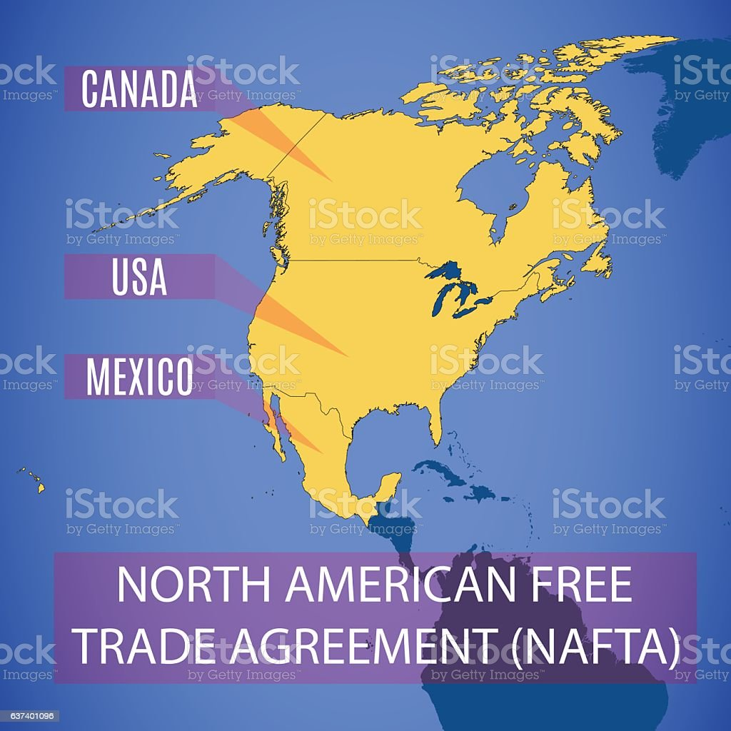 Vector map of the North American Free Trade Agreement (NAFTA). vector art illustration