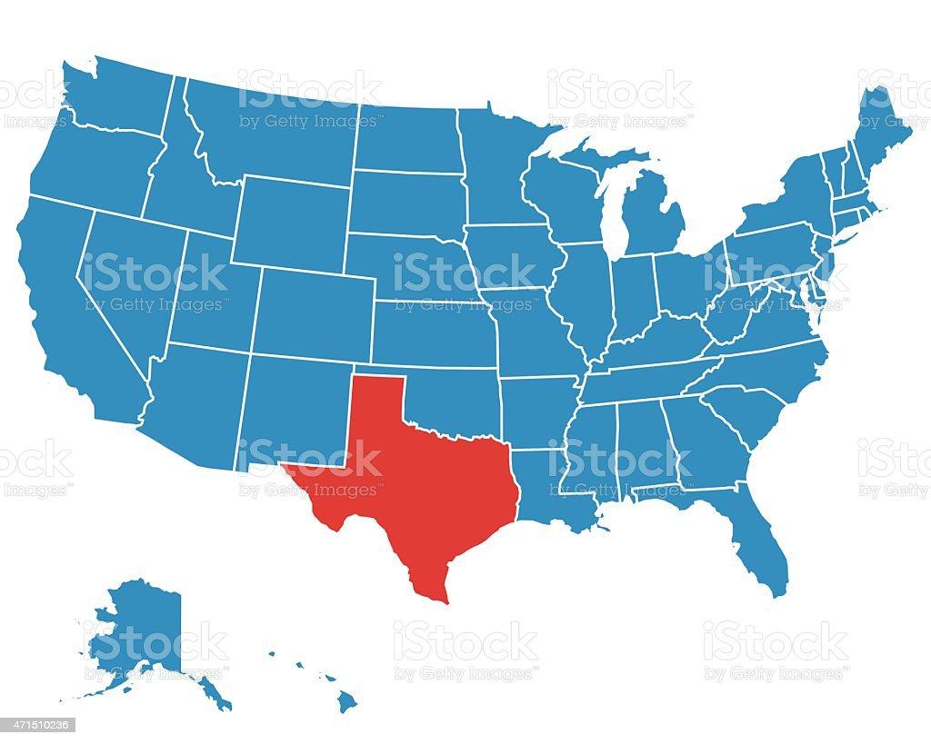 A Vector Map Of The Usa With Texas Highlighted Stock Vector Art - Us alaska hawaii vector map