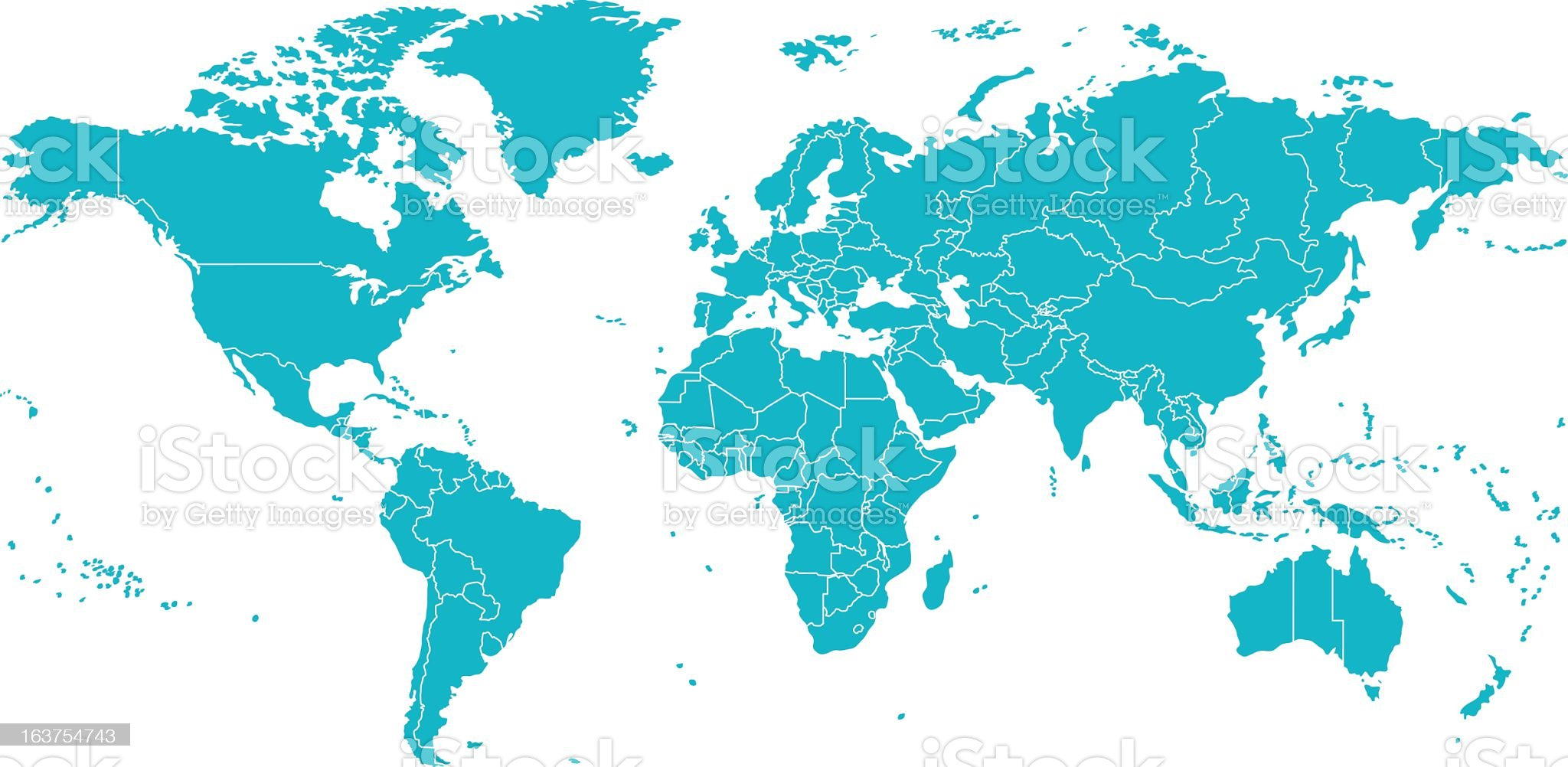 Vector Map Of The World with lines dividing each country. royalty-free stock vector art