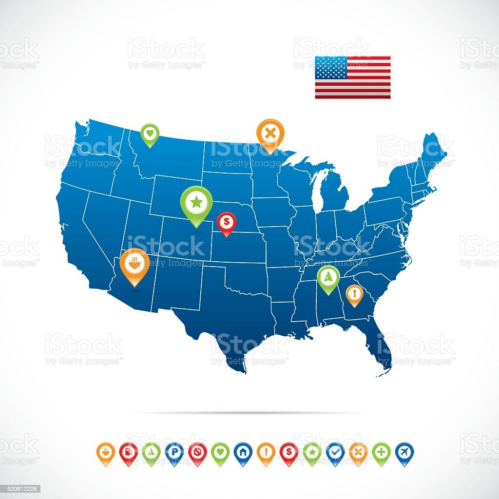 USA Vector Map vector art illustration