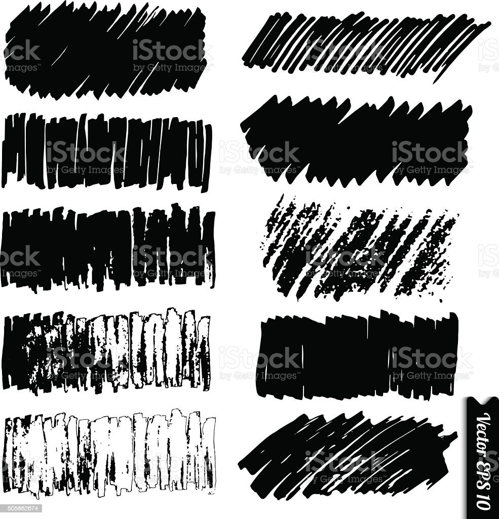 Vector marker lines set. Hand drawn black grunge marker backgrounds vector art illustration