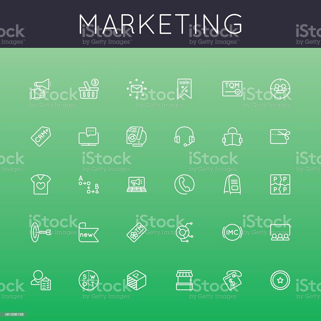 Vector Marketing Line Icons vector art illustration