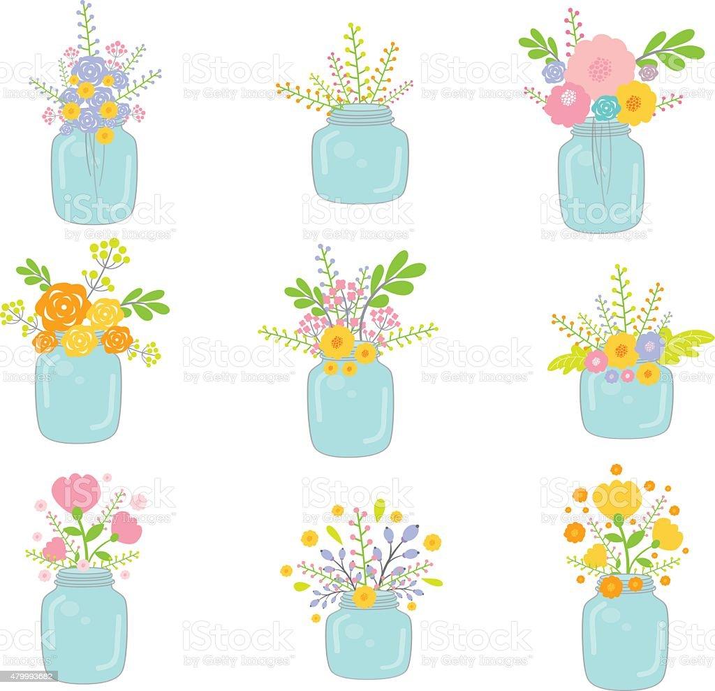 Vector Mason Jars With Flowers vector art illustration